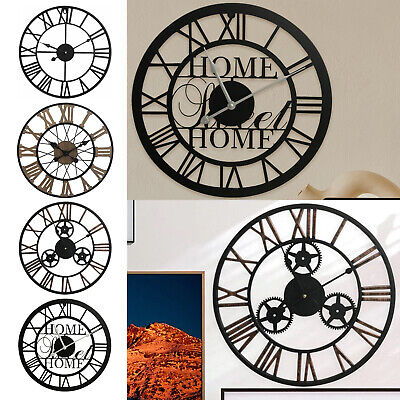 Large Outdoor Garden Wall Clock Metal Roman Numeral 40-88CM Round Face Black