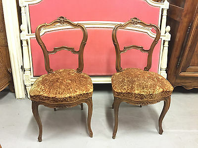 Pair of Louis XV rocaille 1900 walnut bedroom chairs