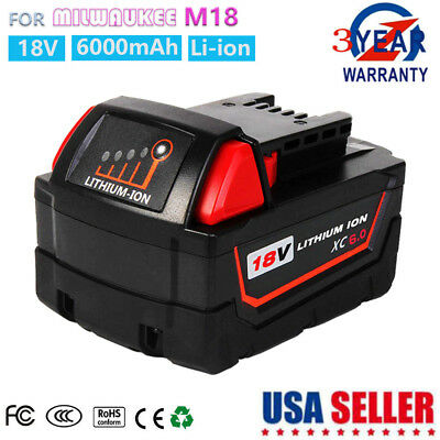 6.0Ah Lithium XC 18V Battery Replace for Milwaukee M18 48-11-1850 48-11-1828