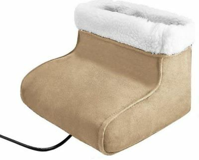 2 in 1 Electric Foot Feet Massager Warmer Heated Comfort Fleece Suede Gift