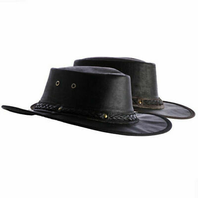 Didgeridoonas Black Australian Cow Leather Skipper Hat With Ventilation Eyelets