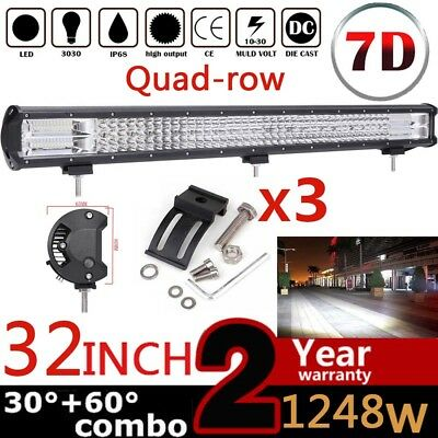 32'' 1248W 7D Quad-row LED Arbeitsscheinwerfer Combo Beam Auto LKW Offroad 4WD