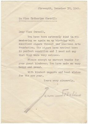 Sibelius, Jean (composer) – Typed letter signed