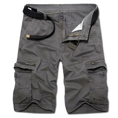 AU Mens Camping Fishing Camouflage Outdoor Pants Army Cargo Shorts Work Trousers