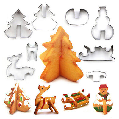 8Pcs Cake Cutter Mold 3D Xmas Tree Elk Snowman Baking Tool For Bread Pastry Pie