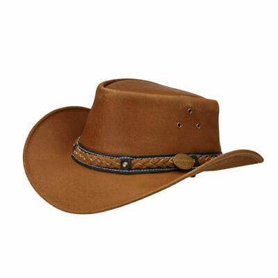 Didgeridoonas Sand Australian Cow Leather Skipper Hat With Ventilation Eyelets