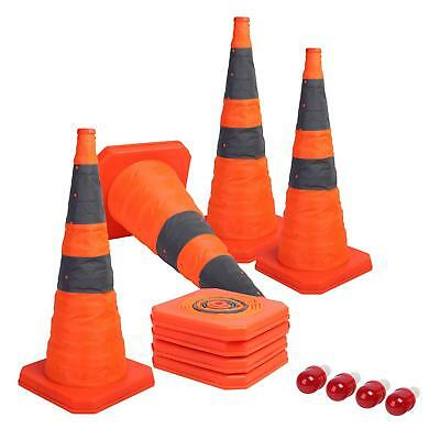 Sunnyglade [4-Pack] 28 inch Collapsible Traffic Cones with LED Light Multi
