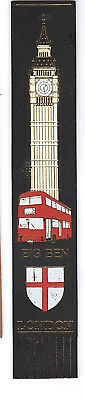 Vintage Leather Book mark Red Buses Big Ben Parliament City of London Flag Gift