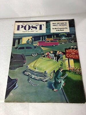Vintage The Saturday Evening Post Magazine American August 1953 Great Adverts