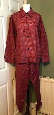 Vintage Unworn French Mens Pajamas PJs 100% Cotton Dark Red Burgundy