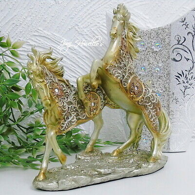 Horse Filigree Gold Rearing Ornament Figurine Collectable Gift Shudehill 23x15cm