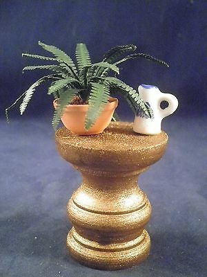 CD  Dollhouse miniature, table with fern and ceramic pitcher  patio lawn garden