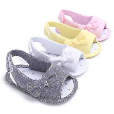 1 Pair Baby Girls Bow Sandals Toddler Summer Party Wedding Princess Flat Shoes