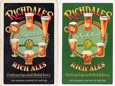 """Pair of RARE VINTAGE """"Richdales British Brewery"""" SINGLE Playing Cards"""
