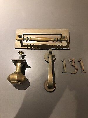old letter box And Knocker (Victorian , letter box, brass, old, knocker, knob