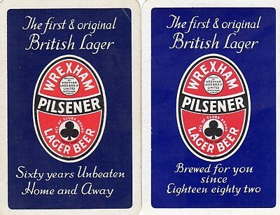 """Pair of RARE VINTAGE """"Wrexham (Blue Cards) British Brewery"""" SINGLE Playing Cards"""