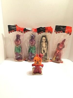 Vintage Gurley Halloween Candle Lot Pumpkin Man Skeleton Witch Scarecrow 80's