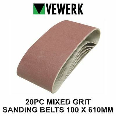 VEWERK 20 Mixed Grit Sanding Belts 610mm x 100mm 60 80 100 120 Grit 9028