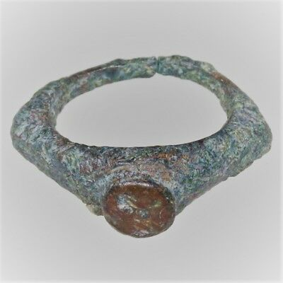 Scarce Ancient Roman Bronze Military Ring With Hare Intaglio