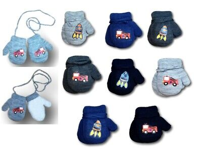 Baby Boys Toddler Winter Terry Mittens With String Gloves Sticker Size 1-5Years