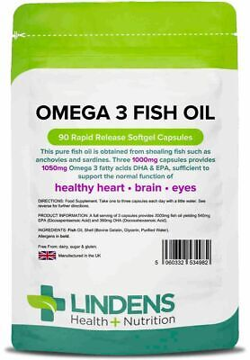 Omega 3 Fish Oil 1000mg - 90 Capsules 30% DHA/EPA- High Strength LINDENS