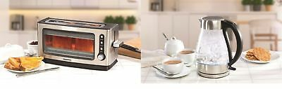 Daewoo Aqua Stainless Steel 2 Slice Glass Toaster Kettle Set Defrost Reheat