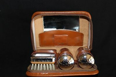 Retro Vintage Gentlemen's Vanity Set Leather case new condition
