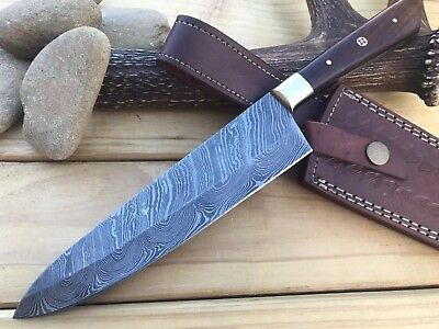 HUNTEX 1 Of Kind Custom Handmade Damascus 12.2Inch Long WalnutWood Kitchen Knife