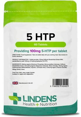 5-HTP 100mg (60 Tablets)  Antidepressant Anxiety Insomnia Lindens Supplement
