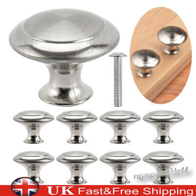 Stainless Steel Silver Door Knobs Cabinet Handles Cupboard Drawer Kitchen DIY UK
