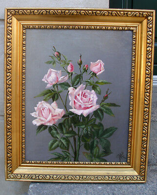 Fine salon oil. Pink Roses and Rosebuds. Signed and dated 1912.