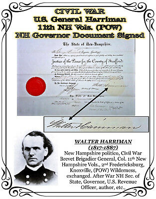 CIVIL WAR U.S. General Harriman 11th NH Vols. (POW) NH Governor Document Signed