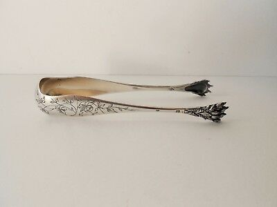 ANTIQUE FRENCH STERLING/SILVER SUGAR TONGS FLOWERS 19th.