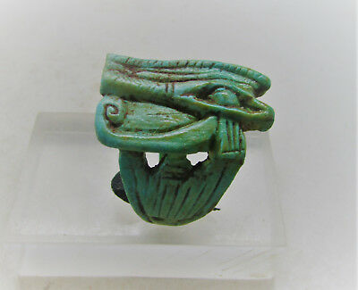Beautiful Ancient Egyptian Glazed Faience Seal Ring Eye Of Horus