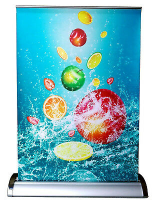 """Mini Table Top Counter Retractable Silver Banner Stand A3 11.69""""x16.54"""" 1013"""