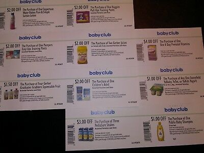 Lot of (10) Publix Baby Club Coupons -EXP- 12/28/2018