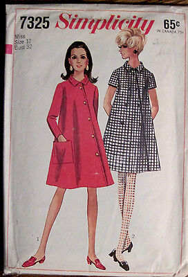 Vtg 1967 Simplicity Simulated Front Opening A-Line Dress 2 Sleeves Pattern Sz 12
