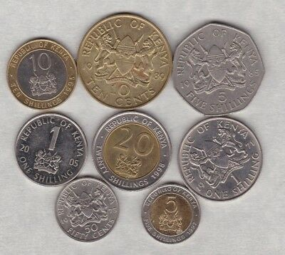 Eight Kenya Coins Dated 1971 To 2005 In Very Fine Or Better Condition