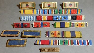 Lot of 14 Fourteen WWII World War 2 U.S. Army Strips Bars Badges Medals No Res