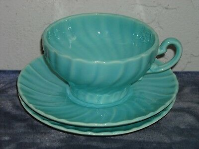 Gladding McBean Franciscan Coronado Cup and 2 Saucers  Glossy Turquoise