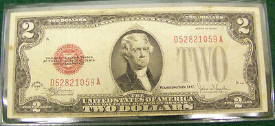 1928 F $2 Red Seal Note # D 52821059 A - XF with Details