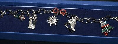 Swarovski Rockerfeller Center Christmas Charm Bracelet NIB Signed Sku-070029