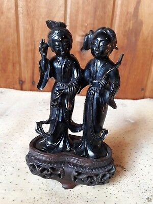 Antique chinese red cherry amber baquelite statue