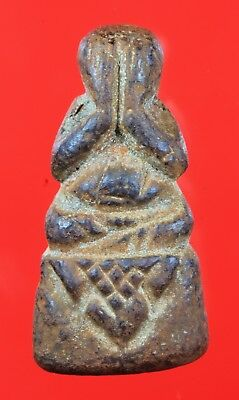 Old Brass Phra Pit Ta Genuine,Thai Amulet,Rich Luck.Protection.