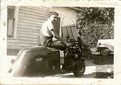 Cushman motor scooter photograph from late 1940s