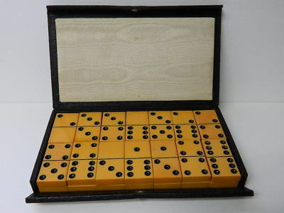 Vintage CRISLOID Top Grade BAKELITE Butterscotch 28 DOMINOES original Box Tested