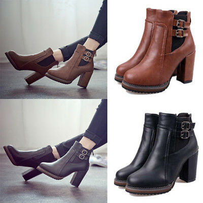 UK Womens Ladies Chunky Block High Heel Shoes Platform Chelsea Ankle Boots Shoes