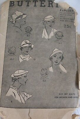 Antique Vintage Butterick Hat Pattern New Deltor Sewing Pattern Millinery