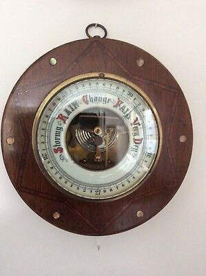 Antique Barometer Brass Bezel Wood Surround Inlaid Mother Of Pearl