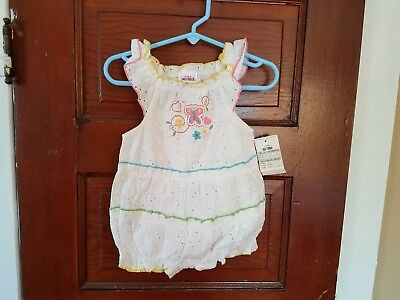 OKIE DOKIE Girl's 6-9 Months White Embroidered Butterflies 100% Cotton Outfit